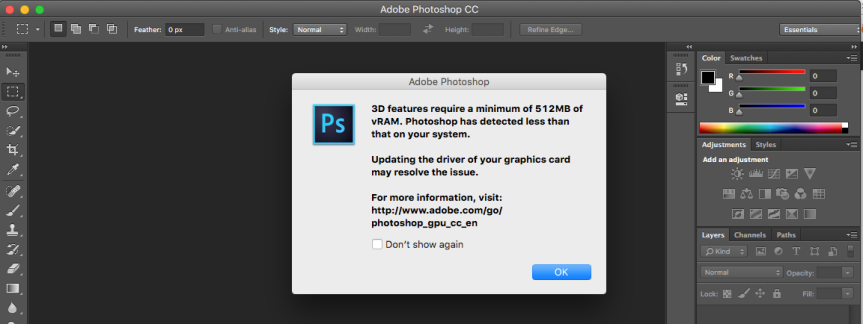 Adobe Photoshop CC Require vRam 512 mb